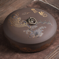 紫砂茶叶罐陶瓷 大号普洱茶盒存醒茶罐 白茶茶饼罐茶叶包装盒家用