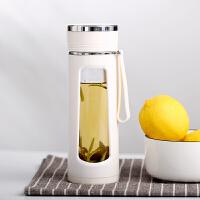 玻璃水杯防摔防烫双层保温隔热便携学生清新简约耐热森系泡茶杯子