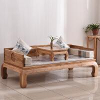 新中式罗汉床实木 卯榫老榆木免漆禅意榻榻米沙发床 1.2米以下