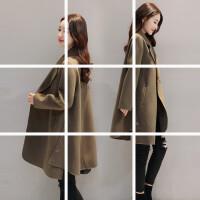 2017秋冬新款韩版女装时尚气质宽松中长款呢子大衣斗篷毛呢外套女