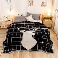 家纺冬季加厚双层拉舍尔毛毯冬季保暖法兰绒卡通大版花时尚盖毯 200*230cm / 7斤