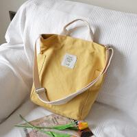 韩文艺帆布单肩包手提包森系简约小清斜挎包休闲布包购物袋潮