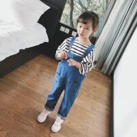 女童背带裤牛仔裤2018春装新款休闲裤子女宝宝连体裤韩版童装 蓝色