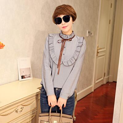 白色衬衫女长袖18春秋新款木耳边立领打底衫韩版女装棉麻文艺衬衣 发货周期:一般在付款后2-90天左右发货,具体发货时间请以与客服协商的时间为准