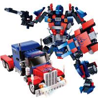 积木擎天柱汽车拼装变形机器人金刚6-8-12岁儿童0男孩子玩具