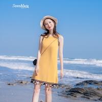 2018夏季新款女装宽松显瘦A字裙气质无袖名族风挂脖连衣裙夏裙子 黄色