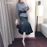 针织连衣裙春装女2018新款套装裙两件套花瓣鱼尾裙显瘦套裙毛衣裙 毛衣+鱼尾裙