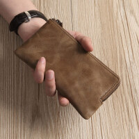 男士长款拉链钱包牛皮手拿包手机包新洁女手包