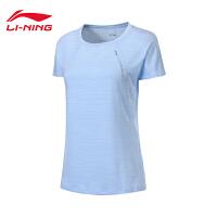李宁短袖T恤女士2019新款跑步系列夏季圆领跑步速干透气针织上衣ATSP112