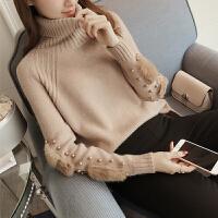 2018春季新款韩版兔毛贴布钉珠高领毛衣长袖针织衫3993 均码