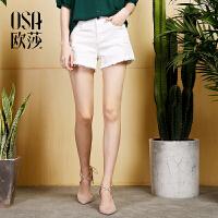 欧莎2017夏装新款女装贴布刺绣白色牛仔裤短裤女B53025