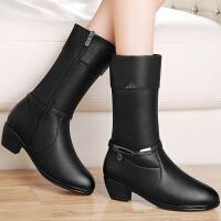 古奇天伦粗跟中筒靴女冬季女靴英伦风马丁靴加绒保暖棉靴 8534