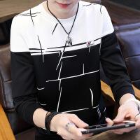 男士长袖T恤短袖潮流男装上衣2018新款秋季衣服韩版秋衣学生卫衣 拼接