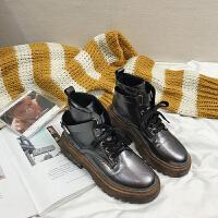 2018秋冬新款粗跟复古帅气马丁靴女系带时尚休闲英伦风短靴女靴子
