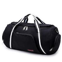 天天帆布包运动健身包男单肩包女圆筒旅行包行礼袋训练包出差、手提包 黑白色
