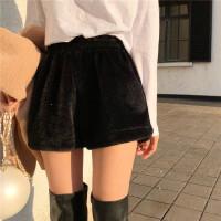 复古港风chic裤子女冬款外穿短裤阔腿裤宽松百搭高腰直筒裤休闲裤