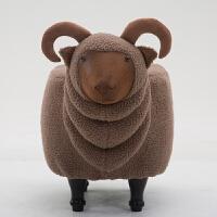 创意山羊换鞋凳实木脚凳沙发凳设计师家具羊凳收纳储物可拆洗脚凳 棕色山羊 可拆洗