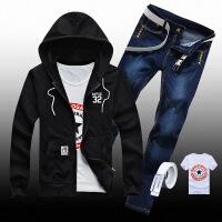 秋季外套男新款韩版修身立领卫衣搭配牛仔长裤子一套男青少年装潮