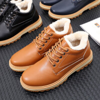 201801021012000099147P39卡其新品男加绒皮鞋英伦保暖休闲鞋加厚冬季潮流男鞋