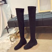 长筒靴女2018秋冬新款小辣椒过膝靴圆头平底瘦瘦靴高筒靴弹力女靴