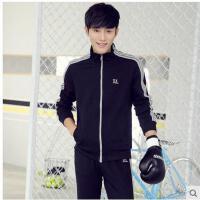 运动户外套装男款青少年新款休闲运动装长袖跑步户外运动服两件套