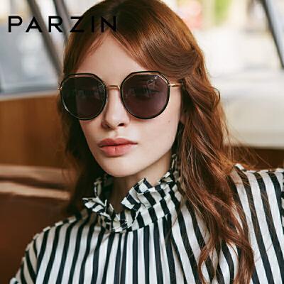帕森太阳镜 女士金属大框镂空镜框尼龙镜片潮墨镜 2019新品91603 时尚黑色墨镜 潮搭配饰 多种场景适用