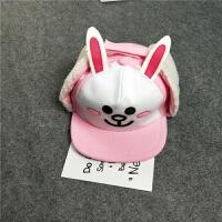 儿童秋冬帽布朗熊加绒护耳鸭舌棒球帽 男女童3-4-5-7卡通帽子 S(54-56cm)