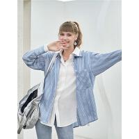 毛菇小象条纹休闲衬衫女设计感小众上衣新款宽松韩洋气小清新衬衣