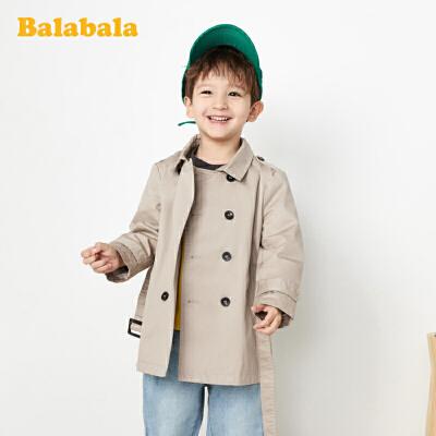 巴拉巴拉宝宝外套男童装儿童风衣春装英伦风双排扣卡其色休闲外衣