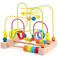 木制女宝宝男孩早教益智台式绕珠串珠婴幼儿智力礼品  儿童玩具1-2-3岁