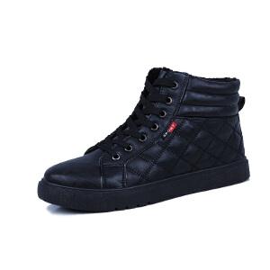 秋冬季短筒雪地靴男加厚保暖平底棉鞋加绒防滑靴子学生防水皮面短靴