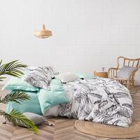 LOVO家纺 天丝四件套 ins风时尚床单被套 椰林海风