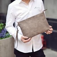 时尚潮流手拿包韩版男士手包软PU皮男包商务手抓信封包IPAD文件包 卡其色 -磨砂PU