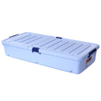 特大号床底收纳箱超长版塑料整理箱床下滑轮储物箱被子衣物零 双色蓝色 超长版长96宽46高18厘米