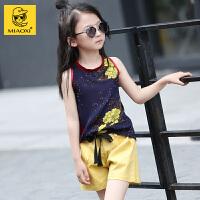 女童夏装套装2018新款儿童背心短裤两件套韩版女孩时尚衣服夏季潮 图片色偏小半码