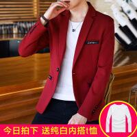 西装男士外套秋季青年韩版学生帅气单上衣红色小西装男休闲西服潮