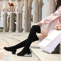 camel骆驼女鞋冬季新品时尚韩版瘦瘦靴弹力布靴子舒适保暖低跟长靴