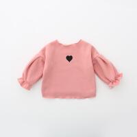 童装2018春秋新款加绒打底衫女童泡泡袖T恤韩版儿童长袖上衣