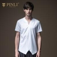 PINLI品立2020夏季新款男�bV�I短袖T恤男打底衫上衣潮日常休�e