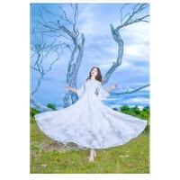 仙女蕾丝勾花高腰大摆系带白色连衣裙度假沙滩裙长裙木耳边裙 白色