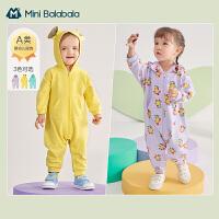 迷你巴拉巴拉婴儿连体衣2021春季新款纯棉连帽外出哈衣爬服