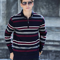 EARTHCAMEL/神州骆驼新品半开拉链立领条纹套头针织衫M1835男毛衣