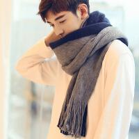 冬季款男士围巾百搭韩版围脖男简约针织毛线流苏长款学生礼盒装