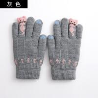 韩版儿童手套冬男童女童贪吃猫双层五指加绒加厚针织手套