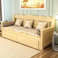 20190403022847982可折叠的沙发变床客厅单双人推拉坐卧两用多功能伸缩床小户型实木 120X200清漆色 【