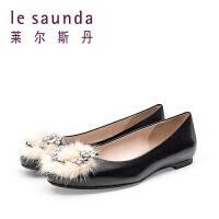 【到手参考价:299】莱尔斯丹 春季专柜款毛毛球女鞋平跟舒适女单鞋8T01202