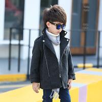 童装春秋韩版男童呢子风衣中大童外套男孩中长款毛呢大衣