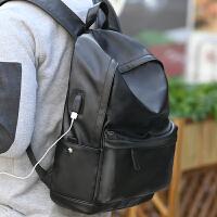 男士双肩包时尚潮流高中学生书包韩版个性青大容量街头背包 -充电版