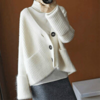 新款!经典!韩版加厚宽松羊绒开衫女短款毛针织衫春季外套毛衣
