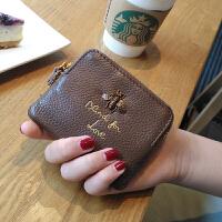 卡包零钱包一体韩版小钱包女短款超薄迷你多功能零钱袋钥匙扣 焦糖色 现货